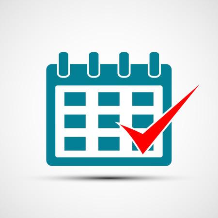 Logo calendar with a check mark. Vector image. Flat design. Stock vector illustration
