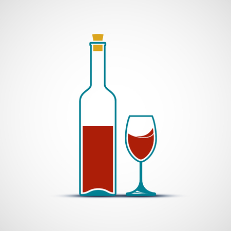 drunkenness: Bottle and a glass of wine. Flat design. Stock vector illustration