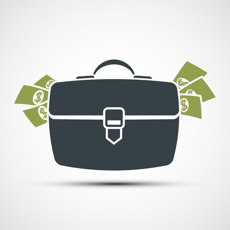briefcase: Briefcase with money. Flat design. Stock vector illustration.