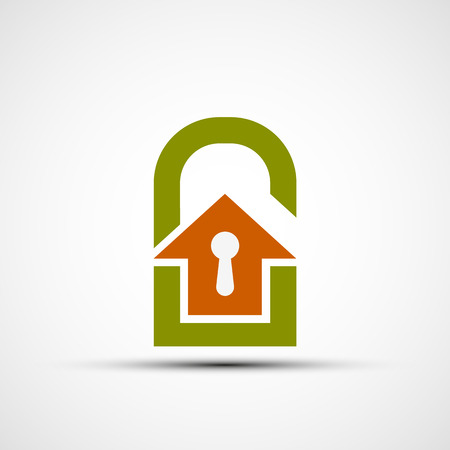 home finances: Logo real estate in the form of a door lock. Flat design. Stock vector illustration.