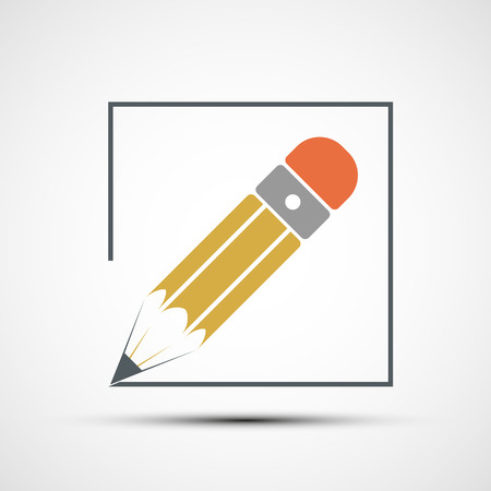 Pencil drawing. Flat design. Stock vector illustration. Ilustração