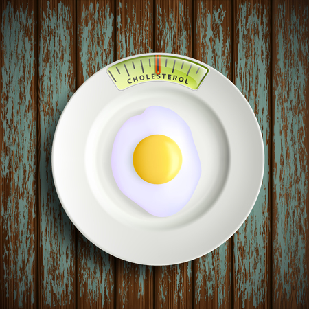scrambled: Plate with scrambled eggs is standing on a wooden table. Stock vector illustration.