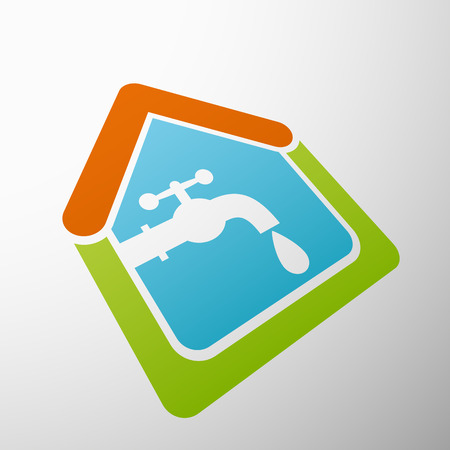 water sanitation: Logo house, tap water.