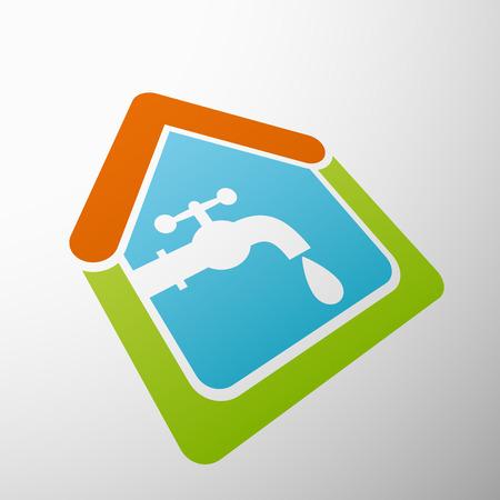 Logo house, tap water.