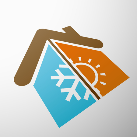 thermostat: Logo home with climate control. Stock vector illustration.