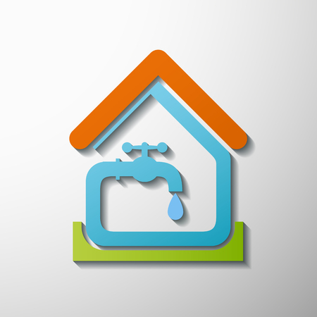 source d eau: Logo maison, l'eau du robinet.