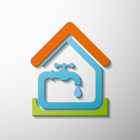 taps: logotipo de la casa, el agua del grifo.
