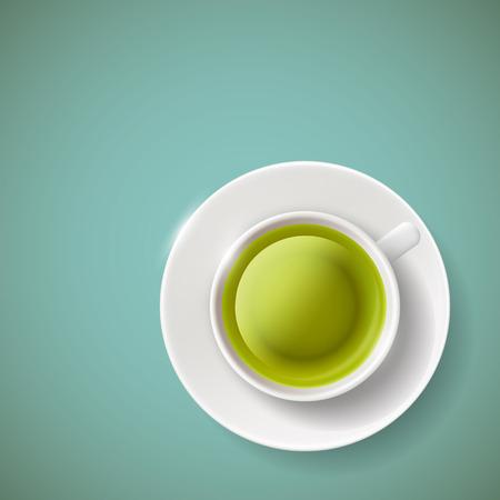 Cup of green tea illustration.