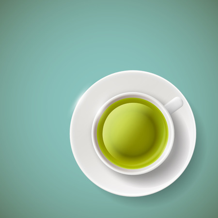 green and black: Cup of green tea illustration.