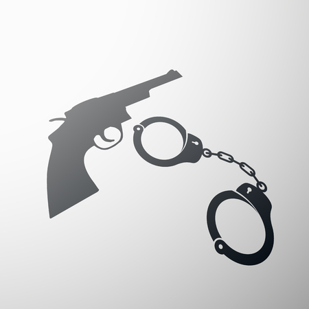 lockup: Gun and handcuffs. Flat design.