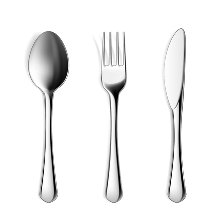 fork and spoon: Set of fork, spoon and knife. Isolated on white background.  Illustration