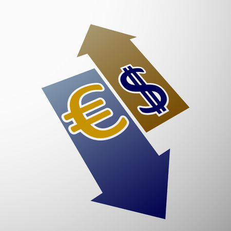 stock exchange brokers: Currency dollar and euro.