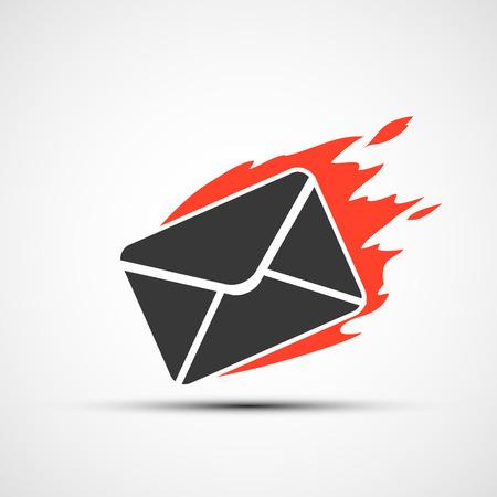 urgently: Burning envelope. Fast delivery mail.