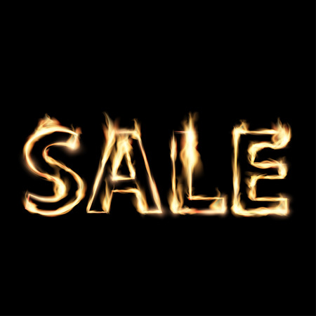 advertisements: Word sale in fire. Illustration