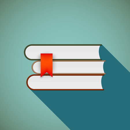 book icon: Stack of books. Flat design.
