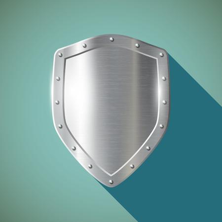 metal shield: Metal shield. Flat design.  Illustration