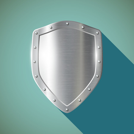 Metal shield. Flat design.  Illustration