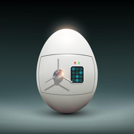 caja fuerte: Caja fuerte en la forma de un huevo.