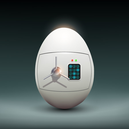 safe with money: Safety Deposit Box in the form of an egg.  Illustration
