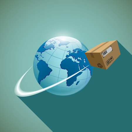 earth moving: Cardboard box. Cargo delivery.