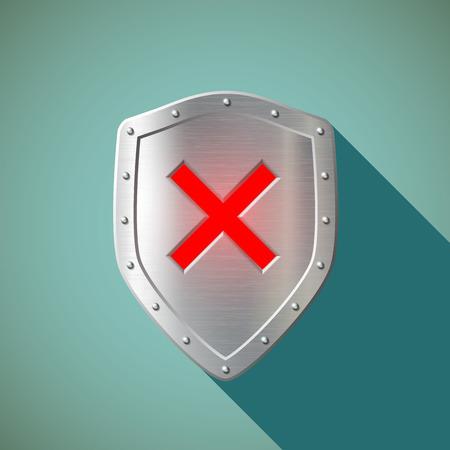 shield: Red Cross on a metal shield. Flat design.