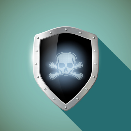 Skull and crossbones on the metal shield.