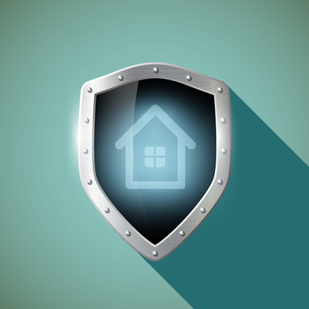 construction projects: House on the metal shield.  Illustration