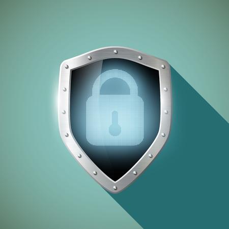 door lock: Door lock on the metal shield. Flat design.  Illustration