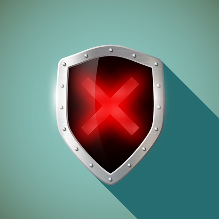 shield: Red Cross on a metal shield. Flat design.