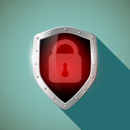 passwords: Red door lock on a metal shield. Flat design.