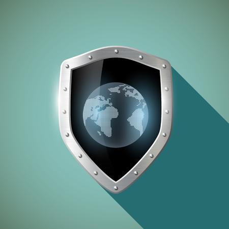 shield: Tierra del planeta en la protecci�n met�lica. Dise�o plano. Vectores