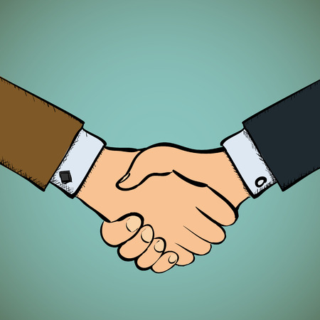 shake hands: Two businessmen shake hands.