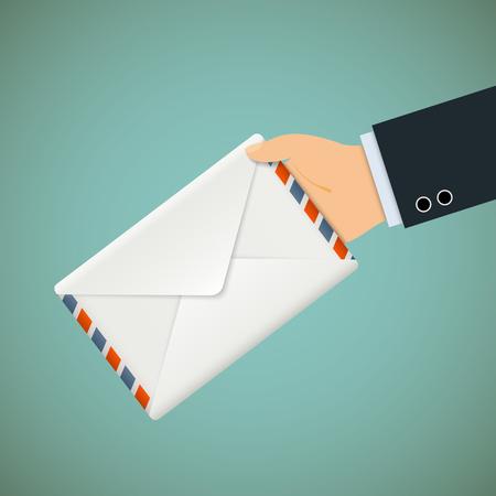 delivering: Hand with envelope.