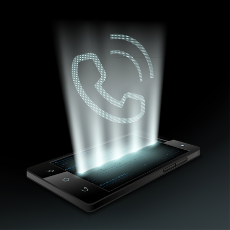 ringtone: Smartphone with icon the call. Technology background.