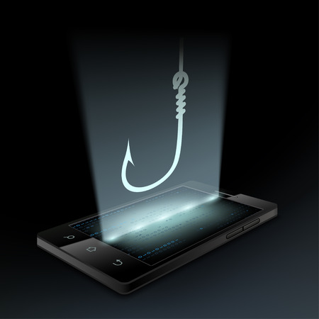 fishhook: Icon fishhook on the smartphone screen. Hologram.