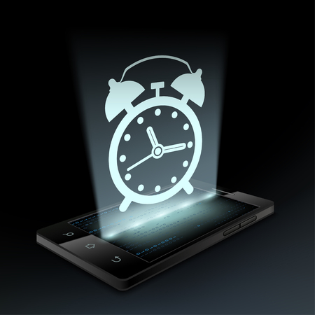 hologram: Alarm clock icon on the smartphone screen. Hologram. Illustration