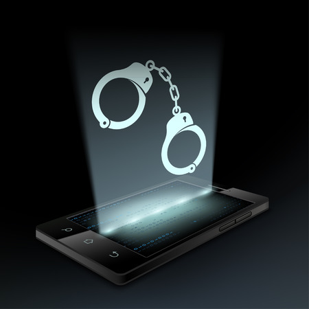 scammer: Icon handcuffs on the smartphone screen. Hologram. Illustration