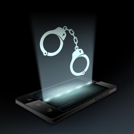 lockup: Icon handcuffs on the smartphone screen. Hologram. Illustration