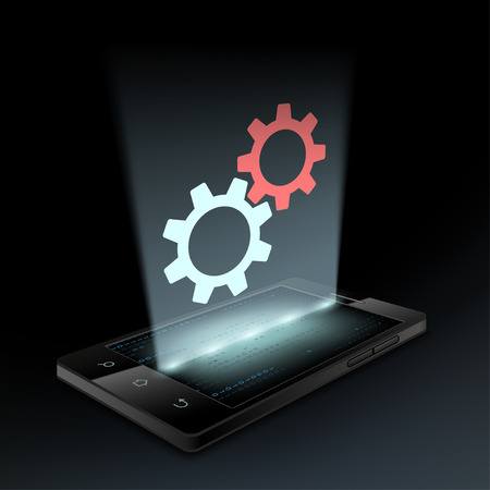power projection: Gears icon on the screen a smartphone. Hologram. Illustration