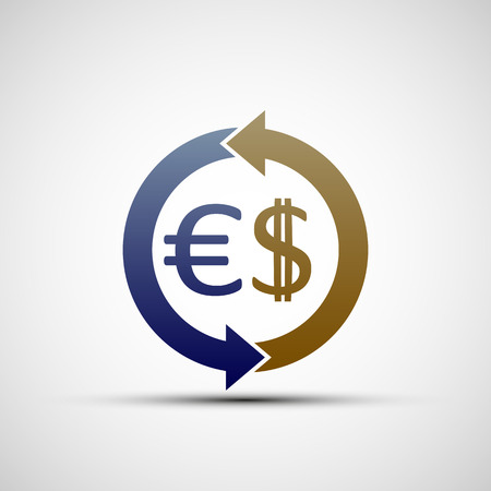exchange rate: Symbols of dollar and euro.