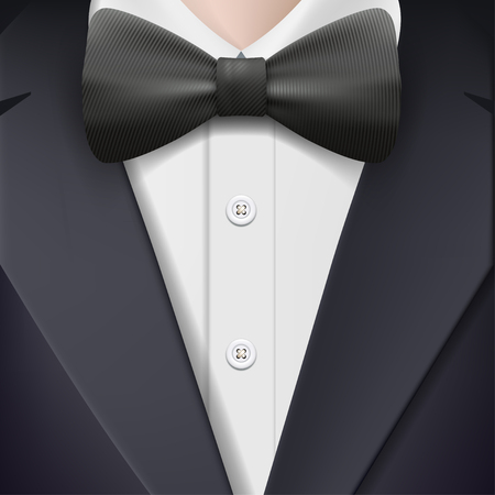tailcoat: Man in a tuxedo with a bow tie.