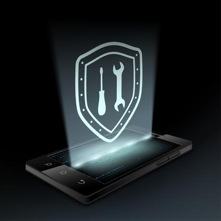 mantenimiento: Herramientas de icono en la pantalla del teléfono inteligente. Holograma.