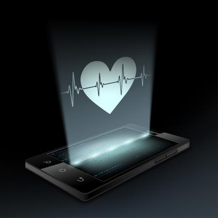 화면의 스마트 폰에 아이콘 마음입니다. 홀로그램.