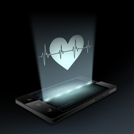 palpitations: Icon heart on the screen smartphone. Hologram. Illustration