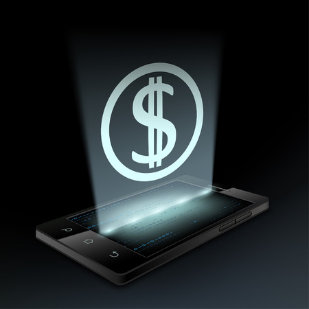 hologram: Dollar icon on the screen a smartphone. Hologram. Illustration