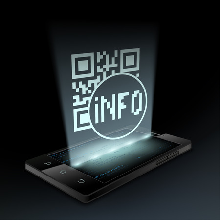qrcode: Qr code icon on the screen a smartphone. Hologram.