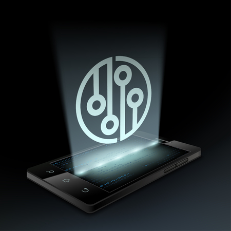 hologram: Icon circuit on the smartphone screen. Hologram.