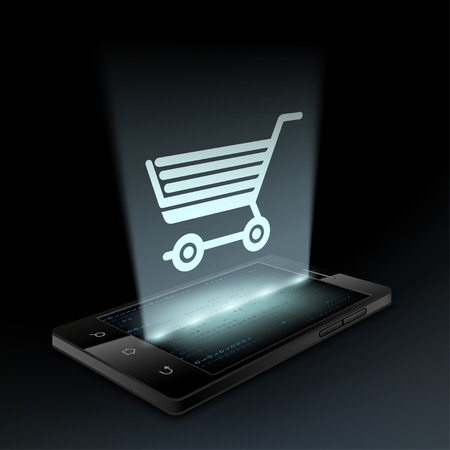 hologram: Shopping cart icon on the smartphone screen. Hologram. Illustration