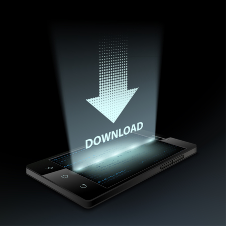 hologram: Download icon on the smartphone screen. Hologram. Illustration