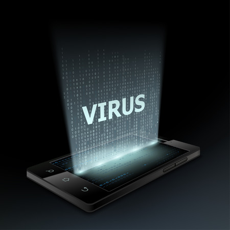 hologram: Virus icon on the smartphone screen. Hologram.